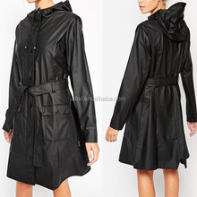 oem service Manufactere China waterproof hooded long women coat with belt 2016