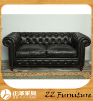 American chesterfield leather vintage loveseat sofa design