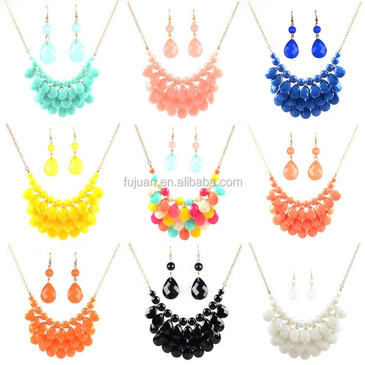 Fashion resin necklace earrings layers bubble coral beads jewelry sets