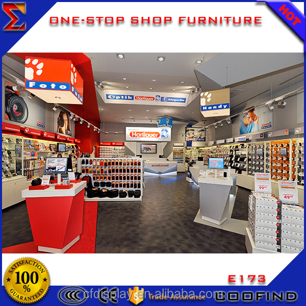 Electronic Shop Showcase Design Modern Wooden Showcase for Electronics Retail Store