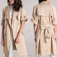 Anly wholesale apparel direct from china women's double breasted long short sleeved coat women clothing 2017