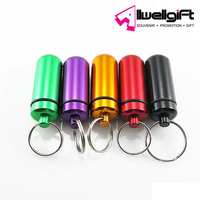Waterproof Aluminum Pill Box Case Drug Holder Keychain Container