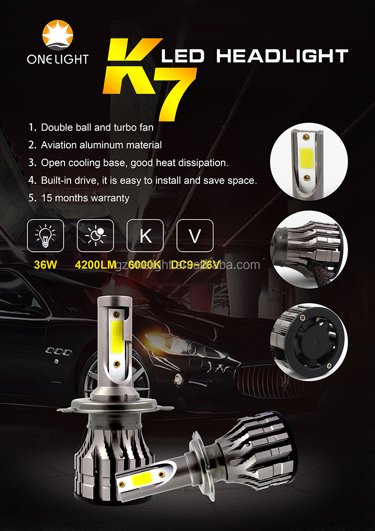 Auto LED Head light Conversion Kit with 36w 4200lm