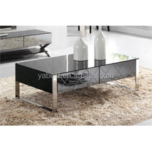 Stainless steel base glass coffee table