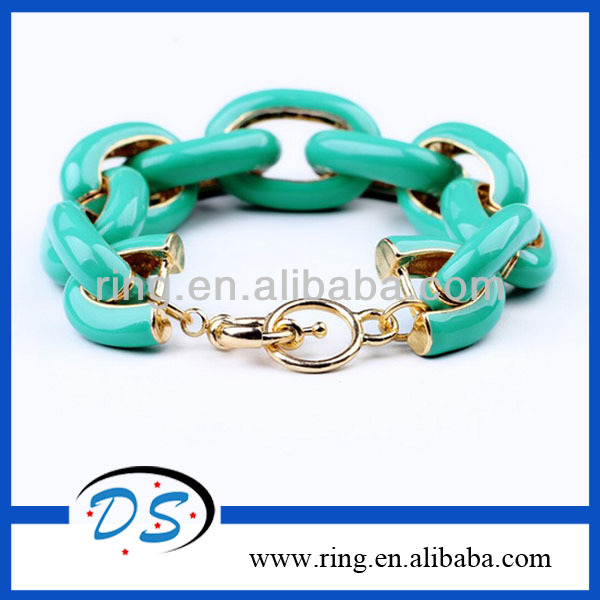 Trendy fashion alloy circle link enamel bracelet with multi candy colours