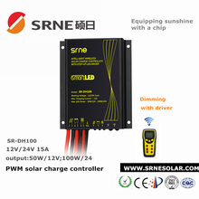 12V/24V Dimming waterproof solar lighting controller with light&time control and led driver,solar street light charge controller