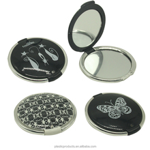 Plastic folding Double Sides round pocket Mirror