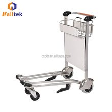 Stainless Steel Customized Hand Brake Airport Luggage Cart For Baggage