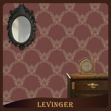 Levinger Free Sample 3D PVC Decorative Brown Checked Floral Old Classic Style Wallpaper