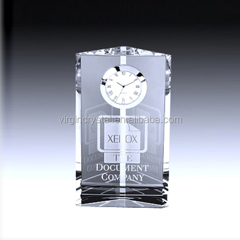 Waterford Crystal glass business Clock for Wedding Souvenirs decoration gift or office gift set desktop gift