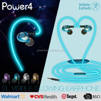 Novelty el led glow light up earphone with standard 3.5mm jack