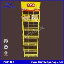 Flooring metal display stand instant noodles wire rack