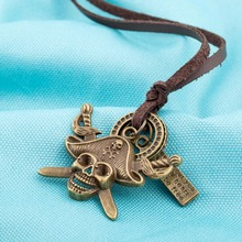 Two Colors Of Multiple Pendant Retro Bronze Pirate Captain Skull Long Leather Necklace