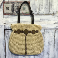 2017 100% Eco-friendly natural moroccan straw tote beach bag with leather handle