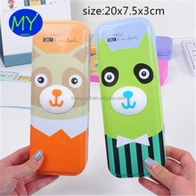 Factory hot sales cute tin 2 layer pencil case of bottom price