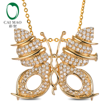 Semi mount butterfly 14K Yellow Gold Pendant