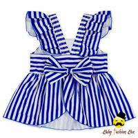 Fitness Children Striped Blue Flutter Sleeve Young Girl Top Kids Beach Clothes Swimwear