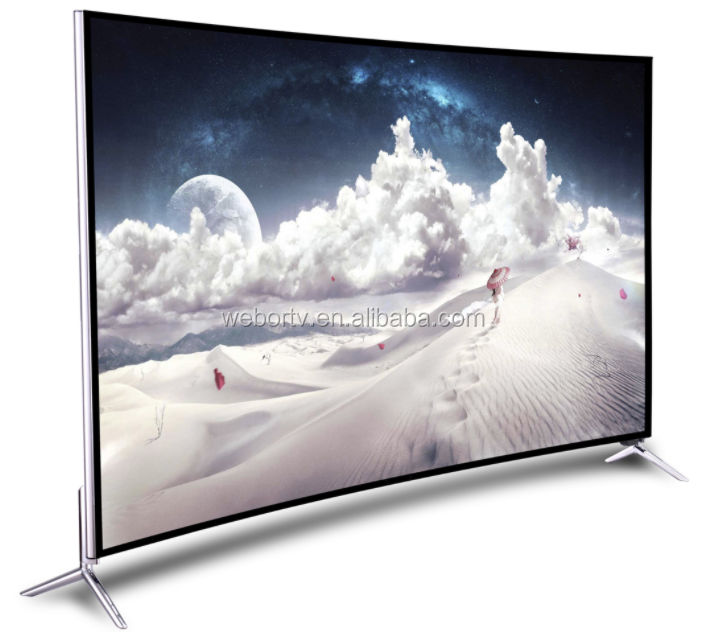 led tv 2017 screen 55inch UHD OEM TV Curved Alunium Narrow bezel Cabinet Original BOE Panel