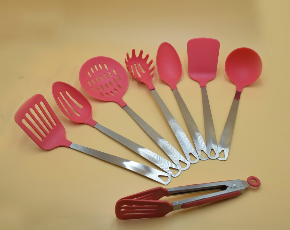 High quality Red nylon kitchen utensil set