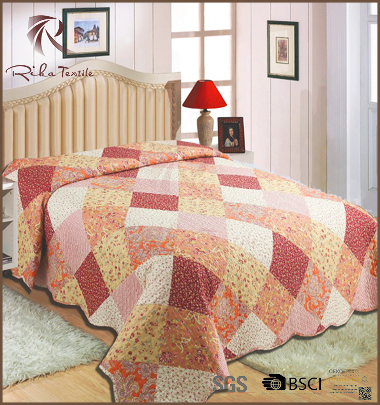 China factory cotton bedspread, top quality quilted bedspread