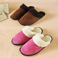 Leather Women Men Home Slippers Warm Winter Indoor Shoes For Couples Bedroom