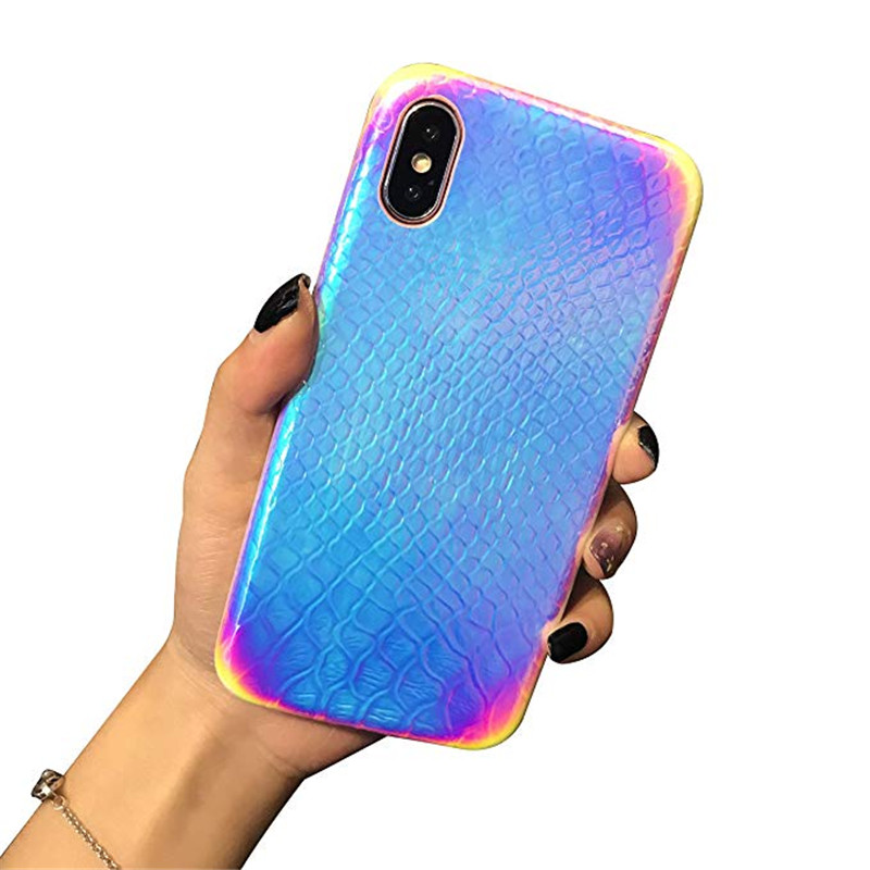 Holographic Mermaid Gorgeous Iridescent Cover Crocodile Pattern Reflective Rainbow PHONE <strong>Case</strong> for iphone 6 7 8 plus x xr xs max