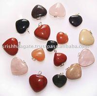 Heart Pendants , Gemstone Pendant , Agate Stone Pendant