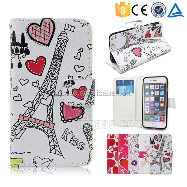 Color printing leather with card slots mobile phone accessory for cherry mobile B200