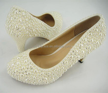 Stunning Pearl Bridal Shoes Beaded Rhinestone Round Toe Wedding Shoes 2-3 inches Heel high/Size 4.5-10