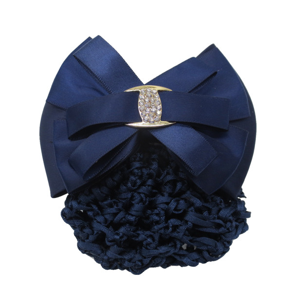 Women's Bun Cover Net Snood Navy Blue Metal Bowknot Decor Barrette Hair Clip
