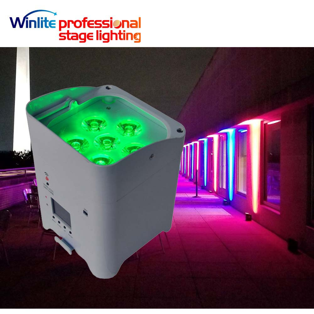6x6 in1 RGBWA+UV battery powered led par can uplighting for weddings