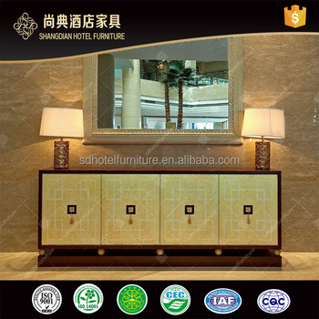 Golden and wooden Hotel Lobby Mirrored Console Table