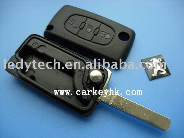 Peugeot 307 flip car key blank with light button no battery place CE0523 remote car key shell key case