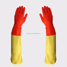 yellow cotton chore long sleeve dishwashing gloves