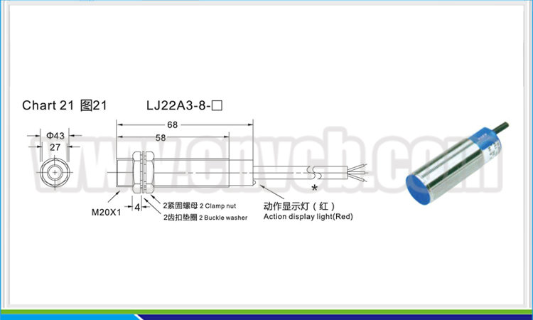 PXS21 LJ22A3-8 M22 non-screen shield AC or DC NO/NC/NONC 8mm detection distance proximity switch
