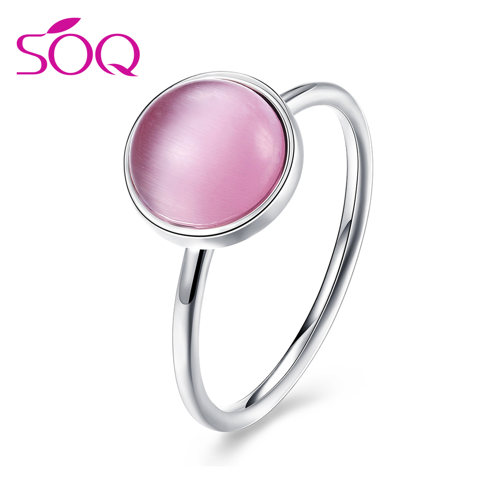 Women's Vintage S925 Jewelry Fashion Rings Round Pink Opal Casual Silver Jewelry Party