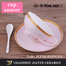 FINE ENGLISH STYLE BONE CHINA FROM PROFESSIONAL FACTORY, PINK COFFEE CUP AND SAUCER WHOLESALE,JCF2Q-H197C-G1