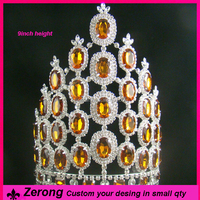 9inch retail fashion orange crystal adults halloween tall pageant crown tiara