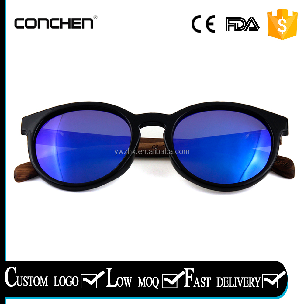 genuine handmade color lens polarized round frame sunglasses wooden bamboo sunnies