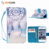Wholesale OEM Custom Printed DIY Flip Wallet Magnetic Leather Case for iPhone 4S 4