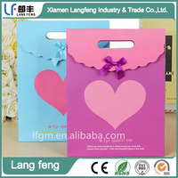 blue and purple heart design paper bag with bowknot for gift Valentines day
