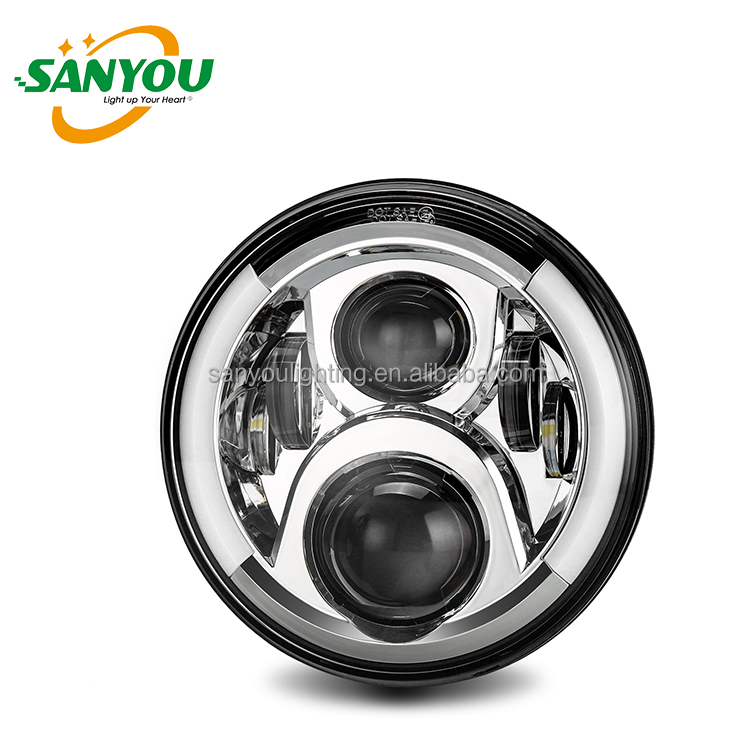 2017 hot selling best quality 7'' High/Low Beam LED Headlight,LED headlamp for Jeep wrangker harley motorcycle with lowest price