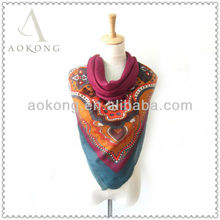 2013 tribal hijab woman antique pattern printed big size square twill cotton scarf