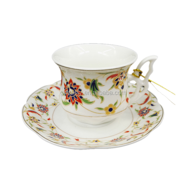 90ml 180ml porcelain ceramic bone china gold yellow royal doulton elegant tea cups and saucer set