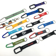 Wholesale Metal keychain with carabiner keychain with custom logo short lanyard