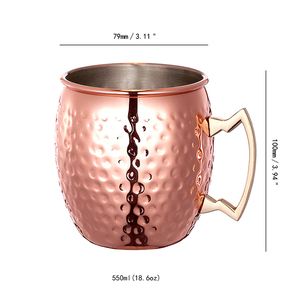 500ml Wholesale Custom Logo Stainless Steel Moscow Mule Copper Mug