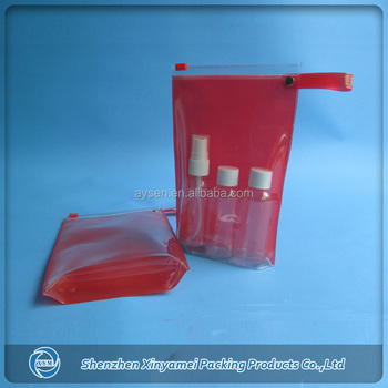 pvc zippered clear cosmetic bags with small handle
