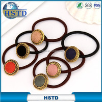 High quality elastic hair tie with gold color button on top for OL lady daily headwear hair tie hot sale simple style