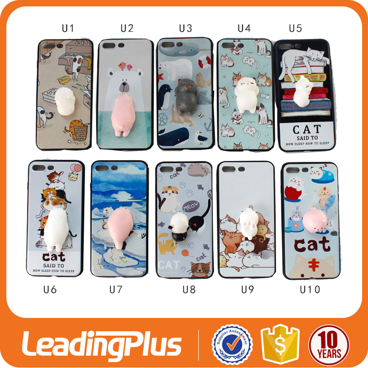 Anti Stress Reducer 3D Cartoon Squishy Phone Case For Iphone 7 Plus