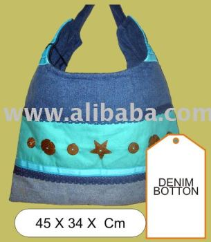 Denim Button Ethnic Bag